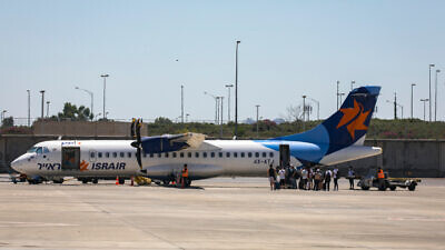 An Israir plane at Ben-Gurion International Airport on Aug. 8, 2020. Photo by Olivier Fitoussi/Flash90.