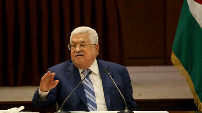 Palestinian Authority leader Mahmoud Abbas speaks during a meeting of the Palestinian leadership in Ramallah, Aug. 18, 2020. Photo by Flash90.