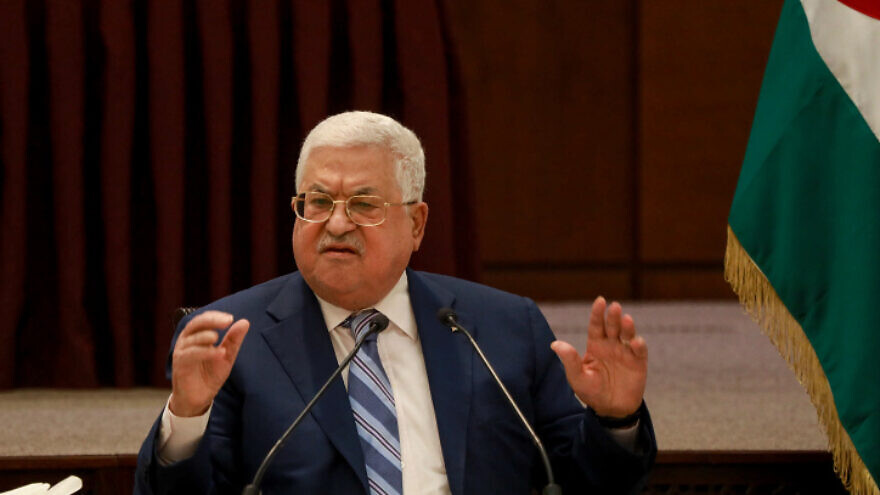 Palestinian leader Mahmoud Abbas speaks during a meeting of the Palestinian leadership in the West Bank city of Ramallah, August 18, 2020. Photo by Flash90.