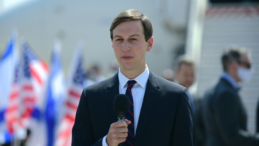 Senior adviser to the president Jared Kushner at Ben-Gurion International Airport near Tel Aviv, ahead of his departure with U.S.-Israeli delegation from Tel Aviv to Abu Dhabi, Aug. 31, 2020. Photo by Tomer Neuberg/Flash90.