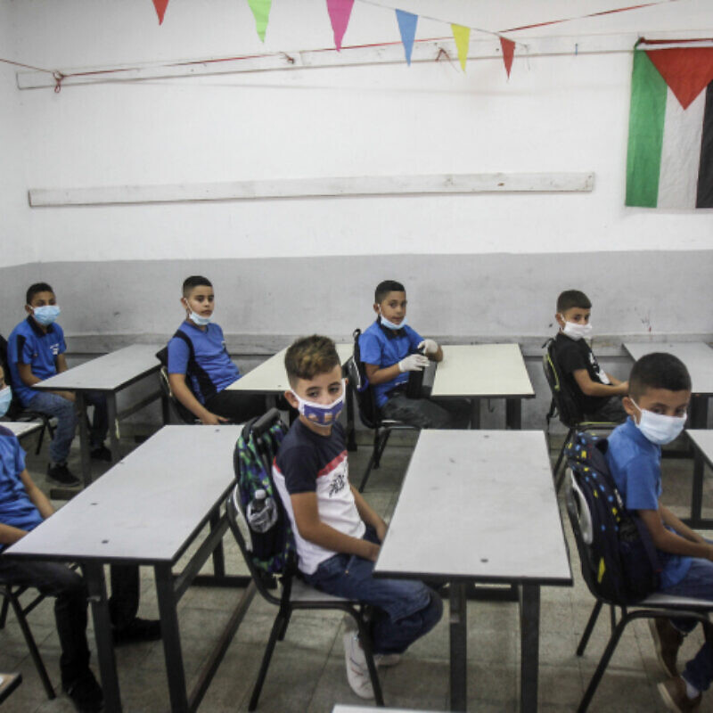 Palestinian students on the first day of school in Nablus in the West Bank on Sept. 6, 2020. Photo by Nasser Ishtayeh/Flash90.