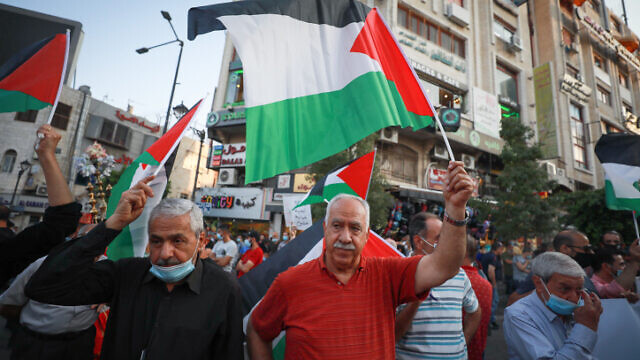 Palestinians in Ramallah, in the West Bank, protest against the normalization agreements with Israel, the United Arab Emirates and Bahrain as the Jewish state increasingly seeks to foster diplomatic ties with the Arab world, Sept. 15, 2020. Photo by Flash90.