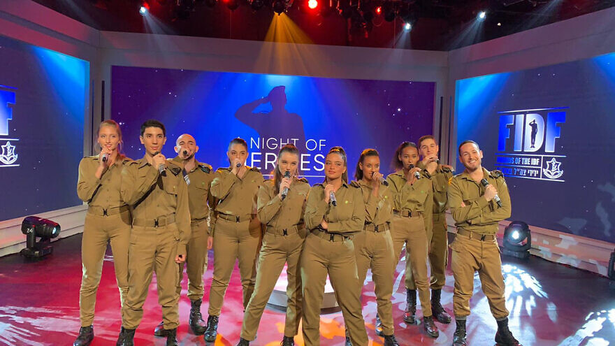 Israeli soldier and singer Noa Kirel and the IDF Ensemble. Credit: Courtesy of FIDF.