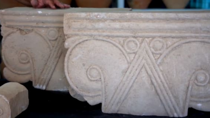 These proto-Aeolian capitals were among a collection of artifacts revealed by the Israel Antiquities Authority on Aug. 3, 2020 that were discovered amid the ruins of a First Temple-era palace in Jerusalem, overlooking the Old City. Credit: Israel Antiquities Authority.