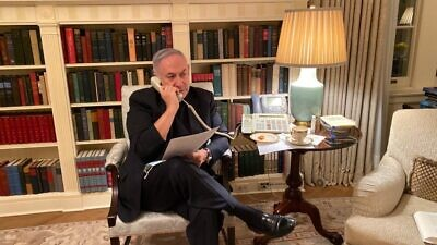 Israeli Prime Minister Benjamin Netanyahu holds a conference call with senior Israeli officials shortly after his arrival in Washington, D.C., to establish diplomatic relations with the United Arab Emirates and Bahrain, Sept. 14, 2020. Credit: GPO.