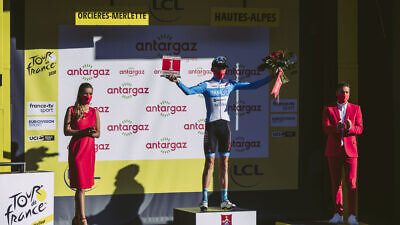 Israeli team member Krists Neilands on the podium. Credit: Noa Arnon.