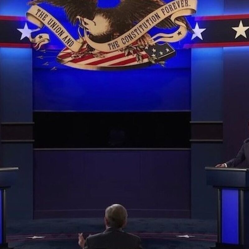 First 2020 presidential debate in Cleveland. Source: Screenshot.