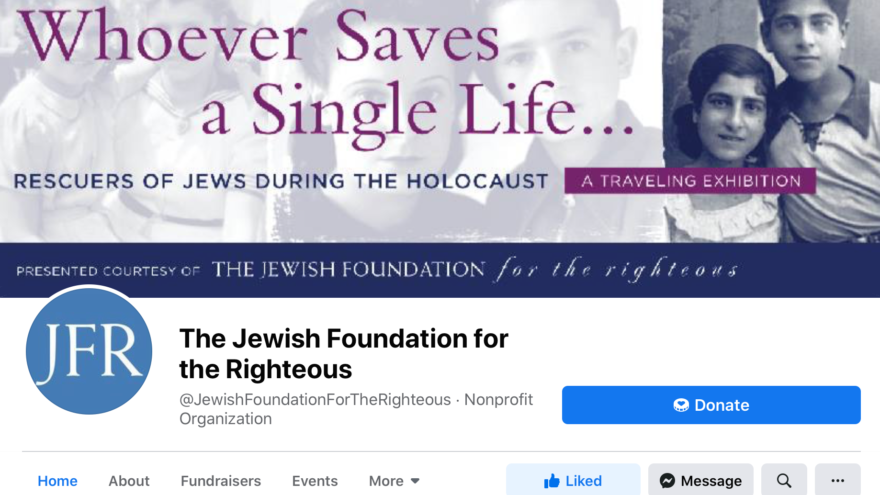 The Jewish Foundation for the Righteous' Facebook page