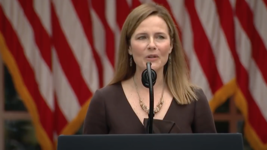 U.S. Seventh Circuit Judge Amy Coney Barrett speaks at the White House after U.S. President Donald Trump's announcement that he has nominated her to succeed the late Ruth Bader Ginsburg on the U.S. Supreme Court, Sept. 26, 2020. Source: Screenshot.