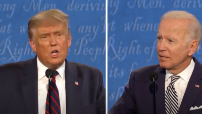 U.S. President Donald Trump and Democratic presidential nominee former U.S. Vice President Joe Biden at the first presidential debate on Sept. 29, 2020. Source: Screenshot.