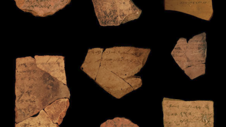 Examples of Hebrew ostraca from Arad.  Photo Credit: Michael Cordonsky, Tel Aviv University and the Israel Antiquities Authority.