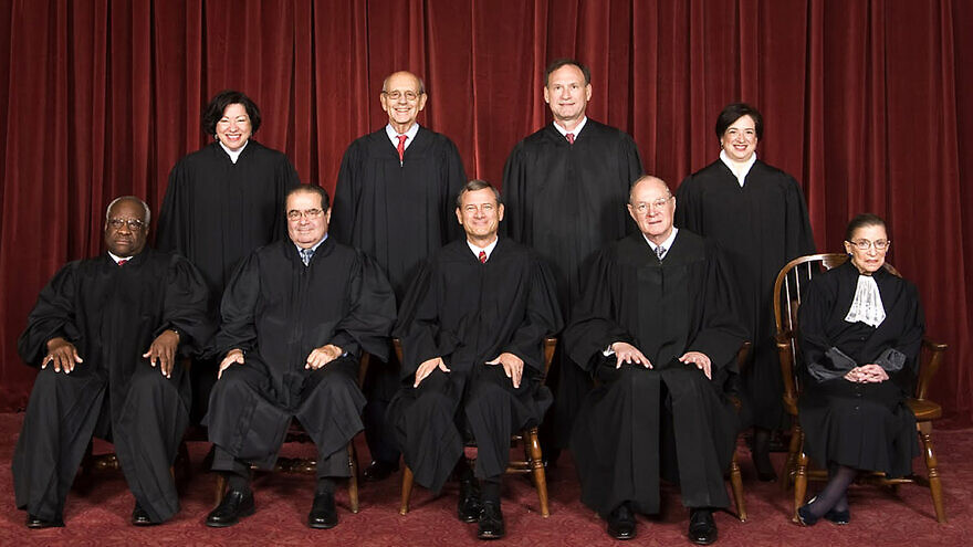 The U.S. Supreme Court in 2010. Top row (from left): Associate Justice Sonia Sotomayor, Associate Justice Stephen G. Breyer, Associate Justice Samuel A. Alito and Associate Justice Elena Kagan. Bottom row (from left): Associate Justice Clarence Thomas, Associate Justice Antonin Scalia, Chief Justice John G. Roberts, Associate Justice Anthony Kennedy and Associate Justice Ruth Bader Ginsburg.