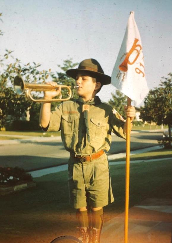 A young Robbie Weinger blowing the trumpet. Credit: Courtesy.