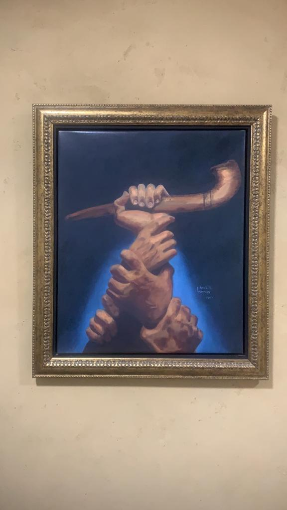 """A view of Jack Weinger's painting """"The Great Shofar."""" Credit: Courtesy."""