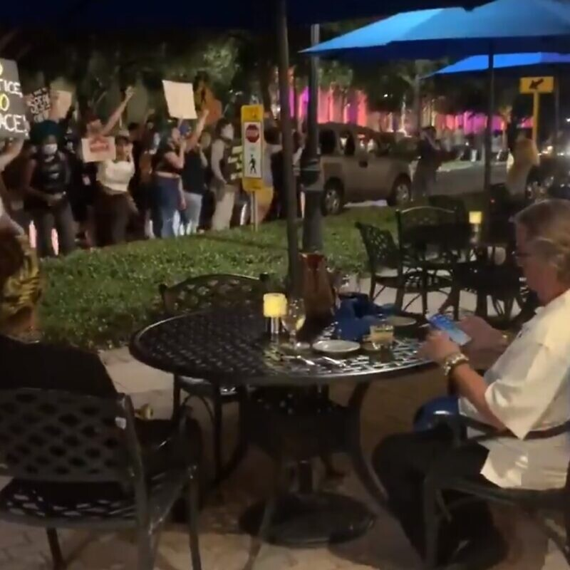 Black Lives Matter protestors accost a pair of elderly diners in St. Petersburg, Fla on September 23, 2020. Source: Screenshot.