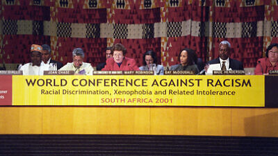 A panel at the World Conference against Racism in Durban, South Africa, from Aug. 31 to Sept. 8, 2001. Credit: U.N./Ron da Silva.