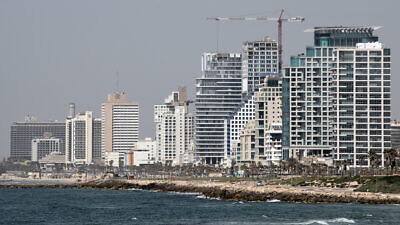 Hotels on Tel Aviv's coastline are seen from Jaffa on March 26, 2020. Photo by Gili Yaari /Flash90.