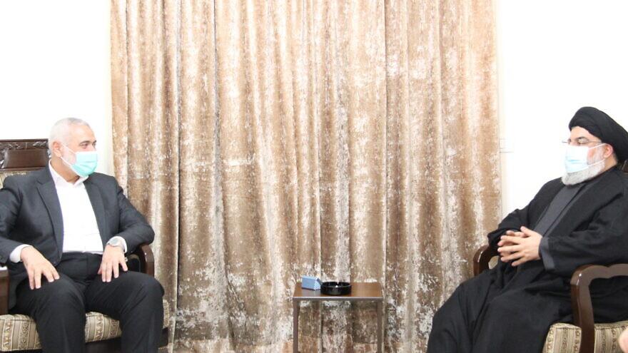 Hezbollah leader Hassan Nasrallah and Hamas leader Ismail Haniyeh meet in Lebanon. Source: Al Manar.