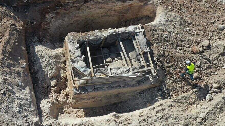 The 2,000-year-old mikveh discovered in the Lower Galilee, as it is about to be airlifted to Kibbut Hannaton on Sept. 30, 2020. Credit: Yaniv Berman/Israel Antiquities Authority.