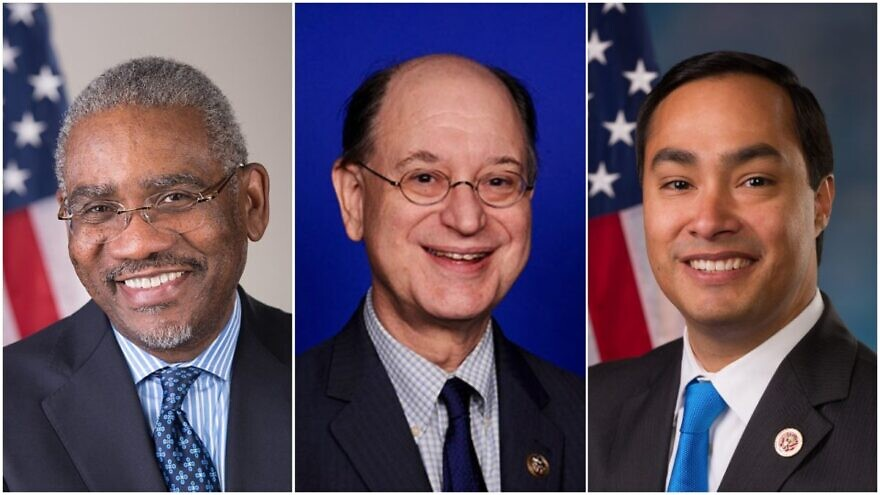 From left to right: Rep. Gregory Meeks (D-N.Y.), Rep. Brad Sherman (D-Calif.) and Rep. Joaquín Castro (D-Texas). Credit: U.S. Congress.