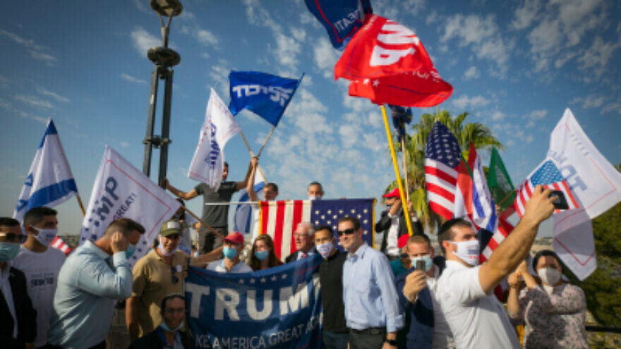 American Israeli supporters of U.S. President Donald Trump at a rally in Jerusalem on Oct. 27, 2020. Photo by Olivier Fitoussi/Flash90.