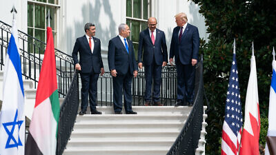 U.S. President Donald Trump, Minister of Foreign Affairs of Bahrain Dr. Abdullatif bin Rashid Al-Zayani, Israeli Prime Minister Benjamin Netanyahu and Minister of Foreign Affairs for the United Arab Emirates Abdullah bin Zayed Al Nahyanisigns sign the Abraham Accords on the South Lawn of the White House, Sept. 15, 2020. Credit: Official White House Photo by Shealah Craighead.
