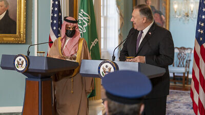 U.S. Secretary of State Mike Pompeo and Saudi Foreign Minister Prince Faisal bin Farhan Al Saud at the U.S. Department of State in Washington, D.C., on Oct. 14, 2020. Credit: Ron Przysucha/U.S. State Department via Flickr.