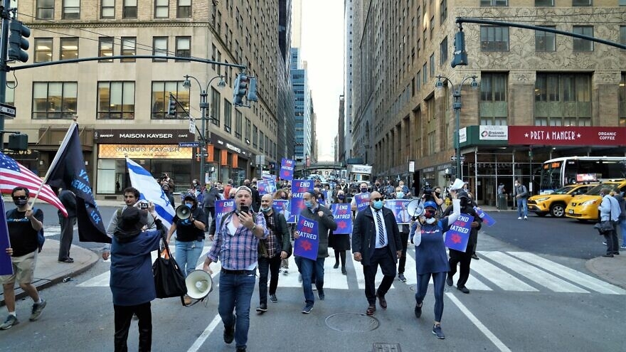 Supporters of the End Jew Hatred movement hold a rally in New York City to protest new coronavirus restrictions enacted by Gov. Andrew Cuomo and Mayor Bill de Blasio, Oct. 15, 2020. Credit: Courtesy.