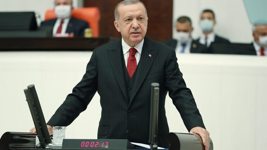 Turkish President Recep Tayyip Erdoğan addressing the opening of the country's parliament on Oct. 1, 2020. Source: Erdoğan via Twitter.