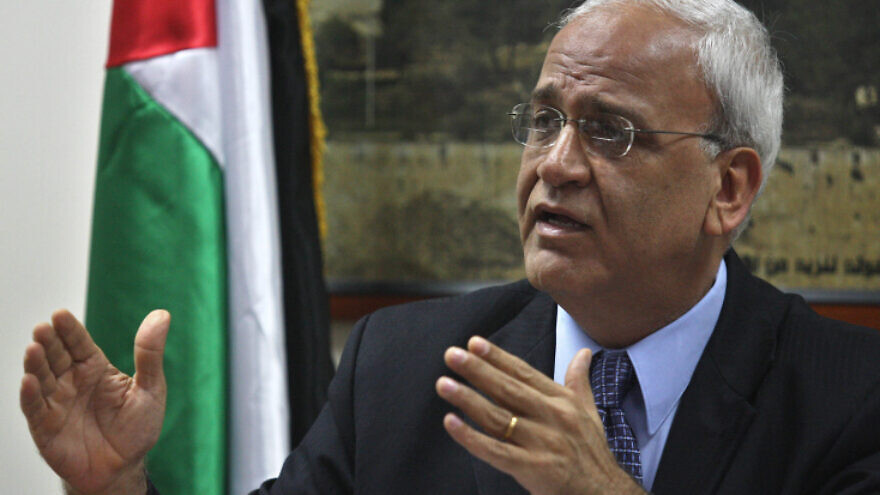 Chief Palestinian negotiator Saeb Erekat speaks at a news conference in Ramallah, on Aug. 23. 2010. Photo by Issan Rimawi/Flash90.