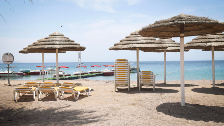 A closed beach on the Red Sea in the resort city of Eilat on May 13, 2020. Photo by Yossi Zeliger/Flash90.