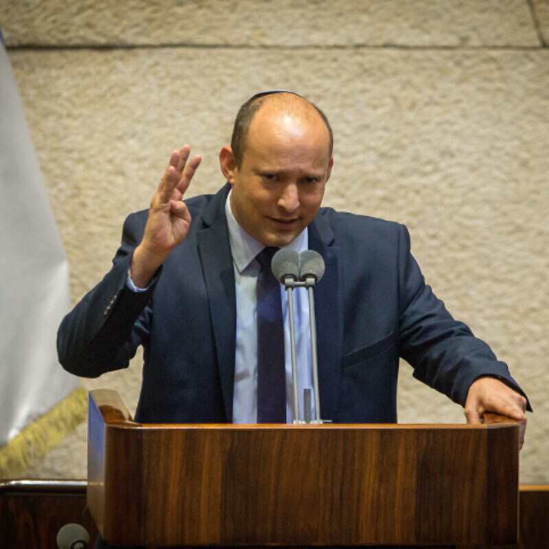 Yamina leader Naftali Bennett speaks during a Knesset plenary session at the Knesset in Jerusalem on August 24, 2020. Photo by Oren Ben Hakoon.