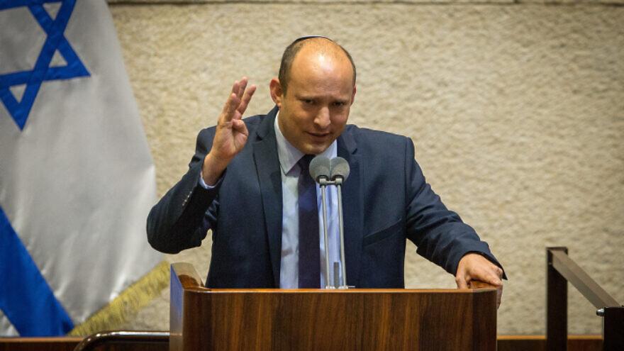 Yamina leader Naftali Bennett speaks during a plenary session at the Knesset in Jerusalem on Aug. 24, 2020. Photo by Oren Ben Hakoon/POOL.