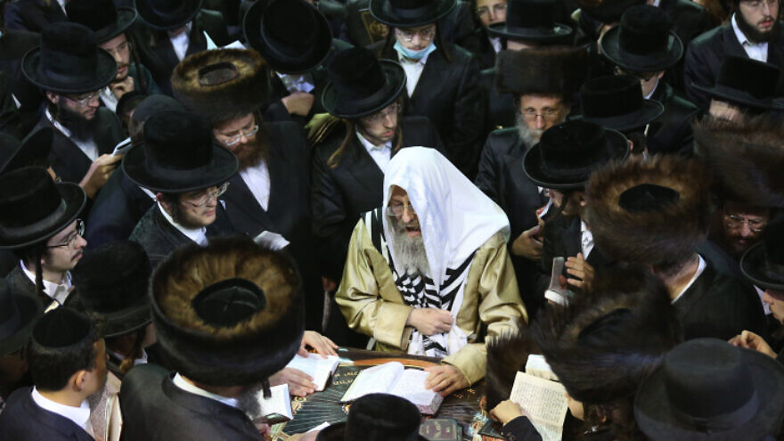 Rabbi Elimelech Biderman prays for forgiveness (Selichot) at the burial site of Rabbi Shimon bar Yochai in Meron in northern Israel ahead of the Jewish New Year, Sept. 12, 2020. Photo by David Cohen/Flash90.