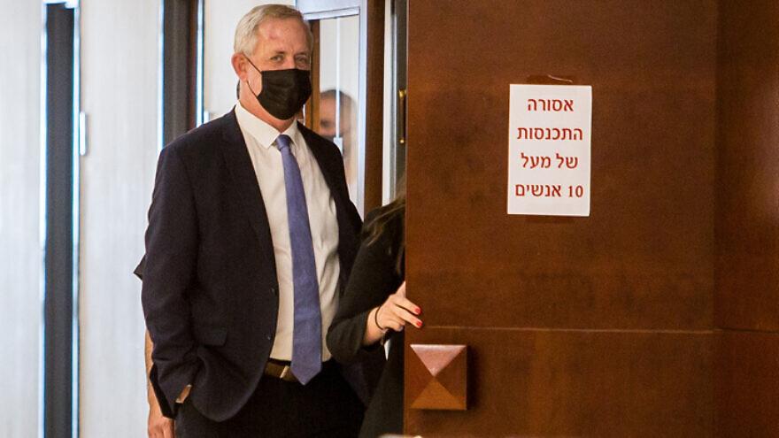 Israeli Defense Minister Benny Gantz at the Knesset, Oct. 21, 2020. Photo by Yonatan Sindel/Flash90.