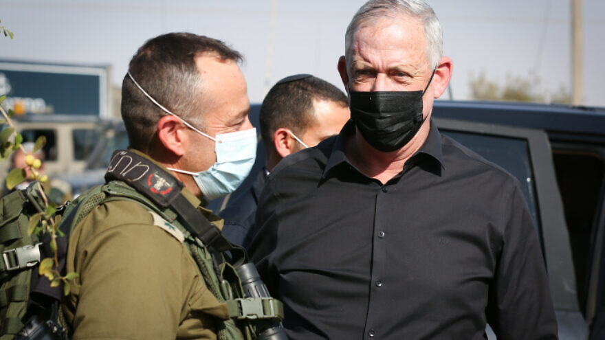"Israeli Defense Minister Benny Gantz (right) speaks with IDF Chief of Staff Lt. Gen. Aviv Kochavi during the Israeli military's ""Lethal Arrow"" exercise in northern Israel, on Oct. 27, 2020. Photo by David Cohen/Flash90."