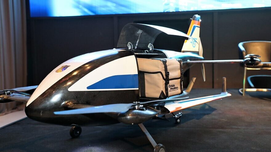 """Gadfin's """"Spirit One"""" UAV that folds out its wings in-flight. It can take packages weighing up to 15 kilograms across more than 250 kilometers. The aircraft are operated autonomously with almost no human intervention. Credit: Courtesy."""