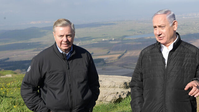 U.S. Sen. Lindsey Graham (left) with Israeli Prime Minister Benjamin Netanyahu on the Golan Heights, March 11, 2019. Credit: Amos Ben-Gershom/GPO.