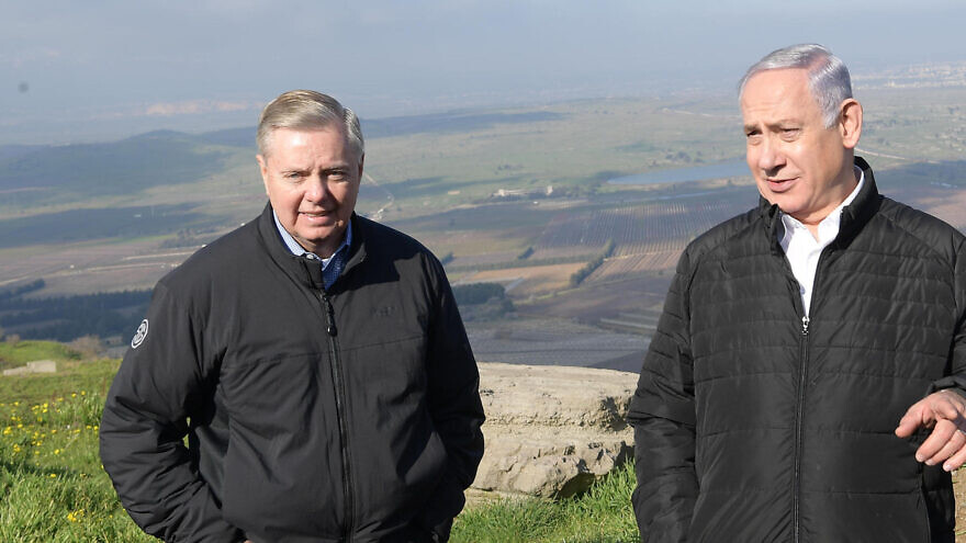 U.S. Sen. Lindsey Graham (left) with Israeli Prime Minister Benjamin Netanyahu on the Golan Heights, March 11, 2019. Credit: Amos Ben-Gershom/GPO.