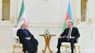 President of Azerbaijan Ilham Aliyev  and President of Iran Hassan Rouhani in Baku, March 2018. Credit: Wikimedia Commons.