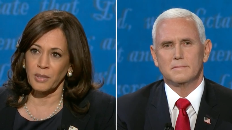 Democratic vice-presidential nominee Kamala Harris and U.S. Vice President Mike Pence at the University of Utah in Salt Lake City for their first and only debate on Oct. 7, 2020. Source: Screenshot.