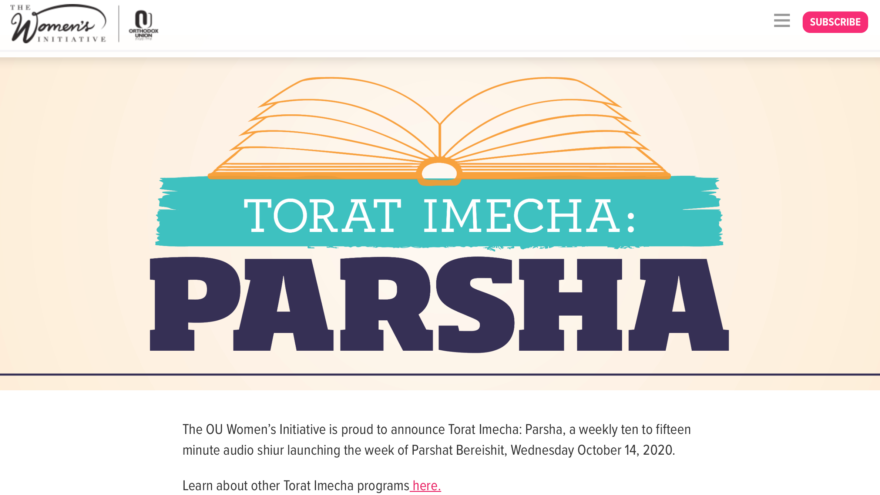 The Orthodox Union Women's Initiative has launched a weekly podcast exploring ideas in the parsha