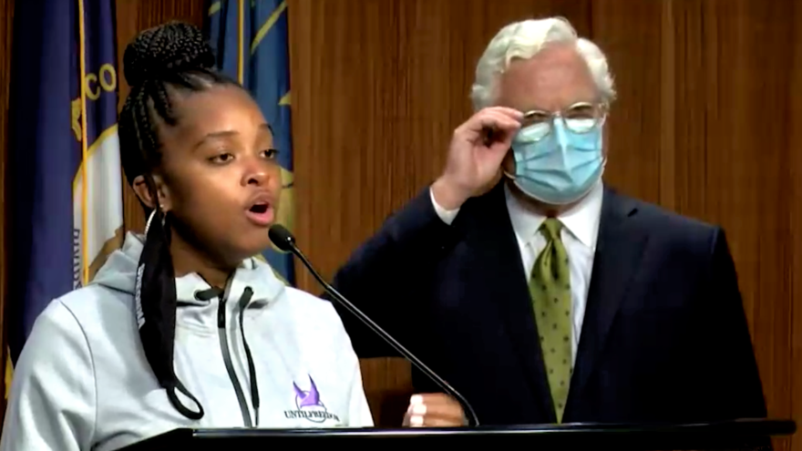 Activist Tamika Mallory with Jefferson County Attorney Mike O'Connell of Kentucky at a press conference following the Breonna Taylor grand jury verdict in mid-September 2020. Source: Screenshot.