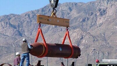 Prototype of the 30,000-pound Massive Ordnance Penetrator at a firing range in White Sands, New Mexico, March 14, 2007. Credit: Defense Threat Reduction Agency.