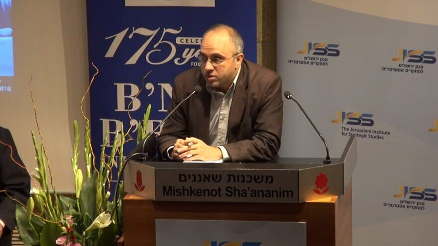 Jonathan Spyer speaking at a Jerusalem Institute for Strategic Studies lecture in March 2019. Source: Screenshot.