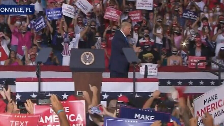 U.S. President Donald Trump at a campaign rally in Jacksonville, Fla., on Sept. 24, 2020. Source: Screenshot.