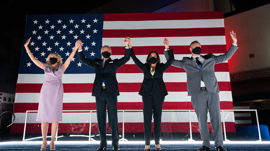 President-elect Joe Biden and Vice President-elect Kamala Harris together with their spouses Jill Biden and Douglas Emhoff. Source: Joe Biden/Facebook.