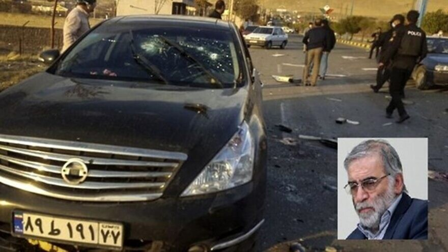 The site of the assassination and vehicle of Mohsen Fakhrizadeh near Tehran. Nov. 27, 2020. Credit: Fars News Agency.