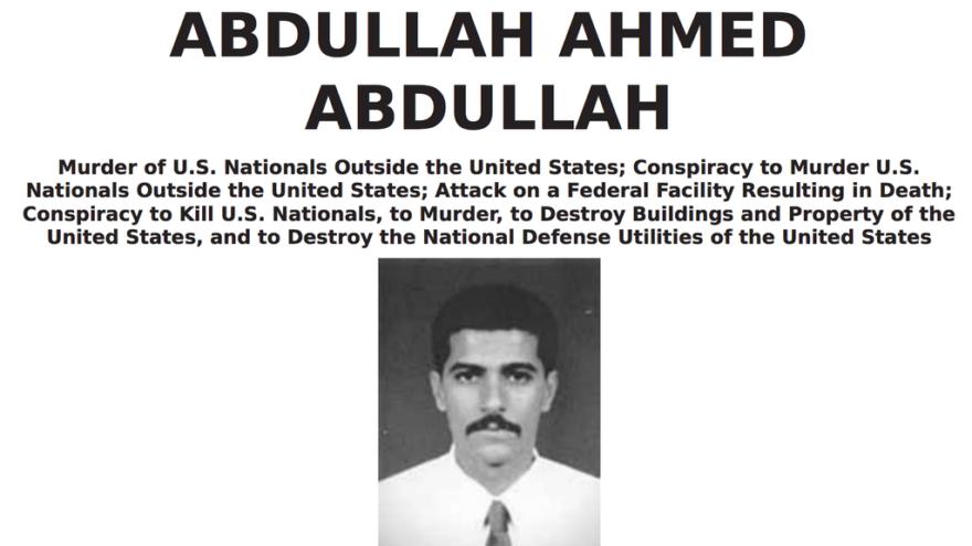 The wanted poster for Abdullah Ahmed Abdullah, nom de guerre Muhammad al-Masri. Credit: FBI.