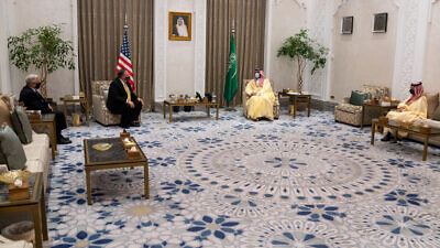 Secretary of State Michael R. Pompeo meets with Crown Prince Mohammed bin Salman, in Neom, Saudi Arabia, on November 22, 2020. Credit: State Department Photo by Ron Przysucha